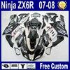 Customizeize Motorcycle Fairing Kits For Kawasaki Ninja Black West 2007 ZX6R 2008 ZX 6R 636 ZX