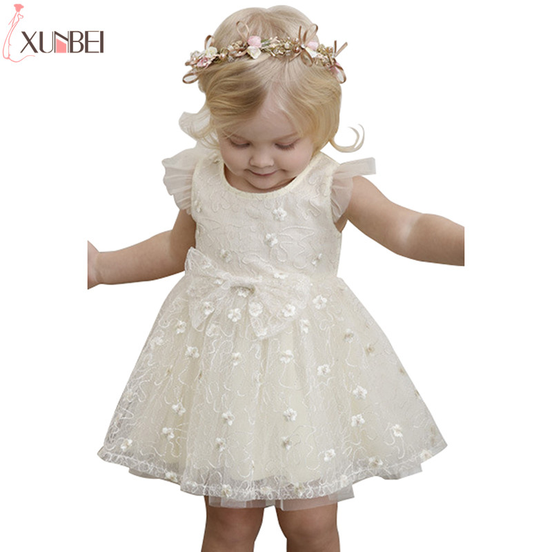 Cute Lace Ivory   Flower     Girl     Dresses   2019 A-line Little Kids Communion   Dresses   Baby Pageant   Dresses   robe enfant fille mariage