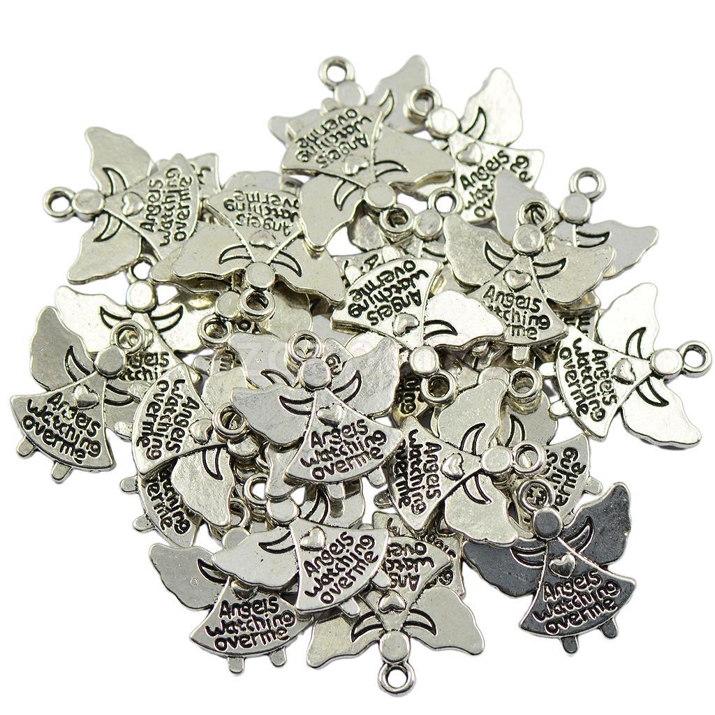 30 Tibetan Silver Angel Charms Pendants Angels Watching over me Jewelry DIY