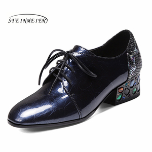 Image 1 - Women summer high heels fashion genuine leather pumps spring thick heels shoes square toe laces heel woman shoes 2020