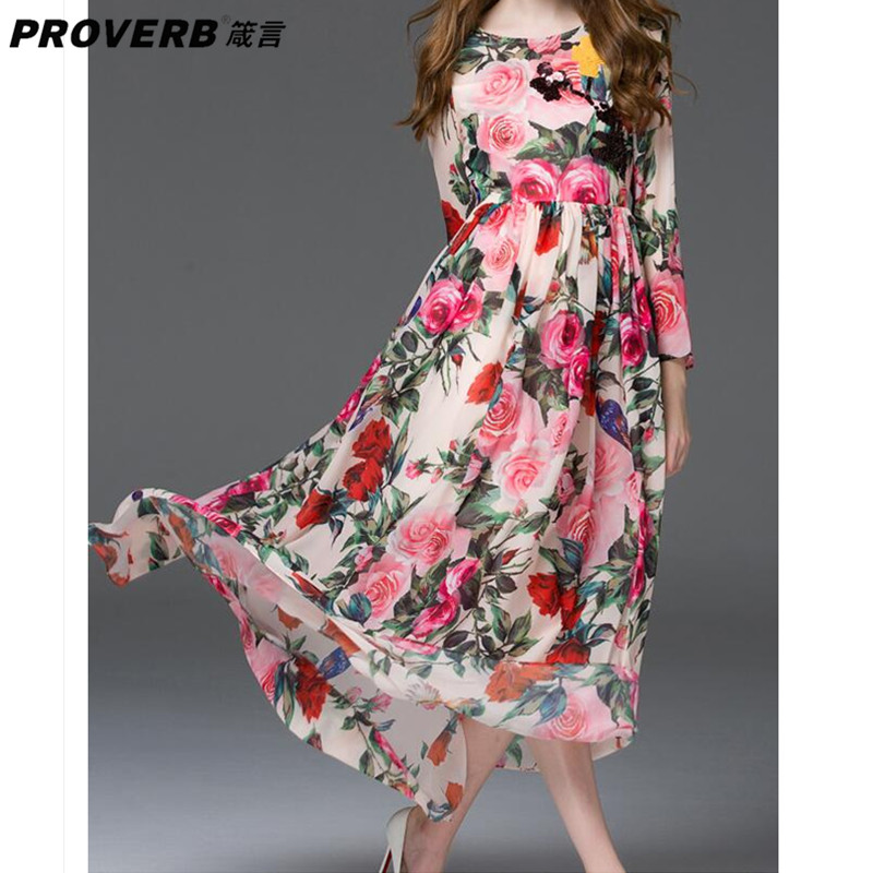 PROVERB Fashion Boho Women Maxi Desses Floral Round Neck Long Sleeves Silk Casual Swing Dresses Beach Wear Robes Vestidos