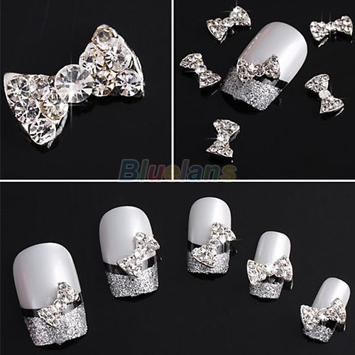 10pcs Wholesale 3D Clear Alloy Rhinestone Bow Tie Nail Art Slices DIY Decorations bluezoo 10pcs black 3d alloy bow tie nail rhinestones decorations nail art diy decoration glitters slices beauty nail stud tips