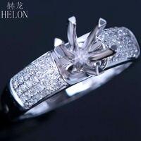 HELON Round 5 5 To 6 5 Mm Round Solid 14K White Gold Fine Diamonds Ring