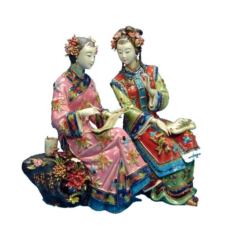 Chinês antigo Senhora Estátua De Cerâmica Manual Pure Artesanato Figura Collectible Figurine Da Porcelana Decoração Da Casa Do Vintage