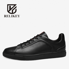 RELIKEY Brand Men Black Shoes High Quality Cow Leather Basic Spring New Style FlatsCasual Breathable Shoes for Men