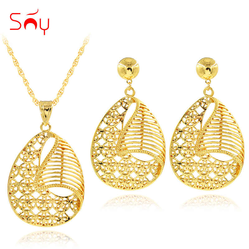 Résultats de bijoux ensoleillés 2019 collier boucles d'oreilles pendentif Maxi Dubai ensembles de bijoux en alliage creux rond pour les femmes pour la fête
