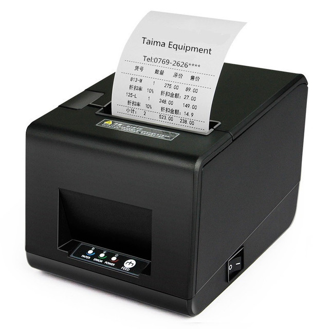 80mm impresora térmica de recibos pos impresora térmica de Alta calidad de la cocina Pequeño billete impresora de código de barras impresora de corte automático