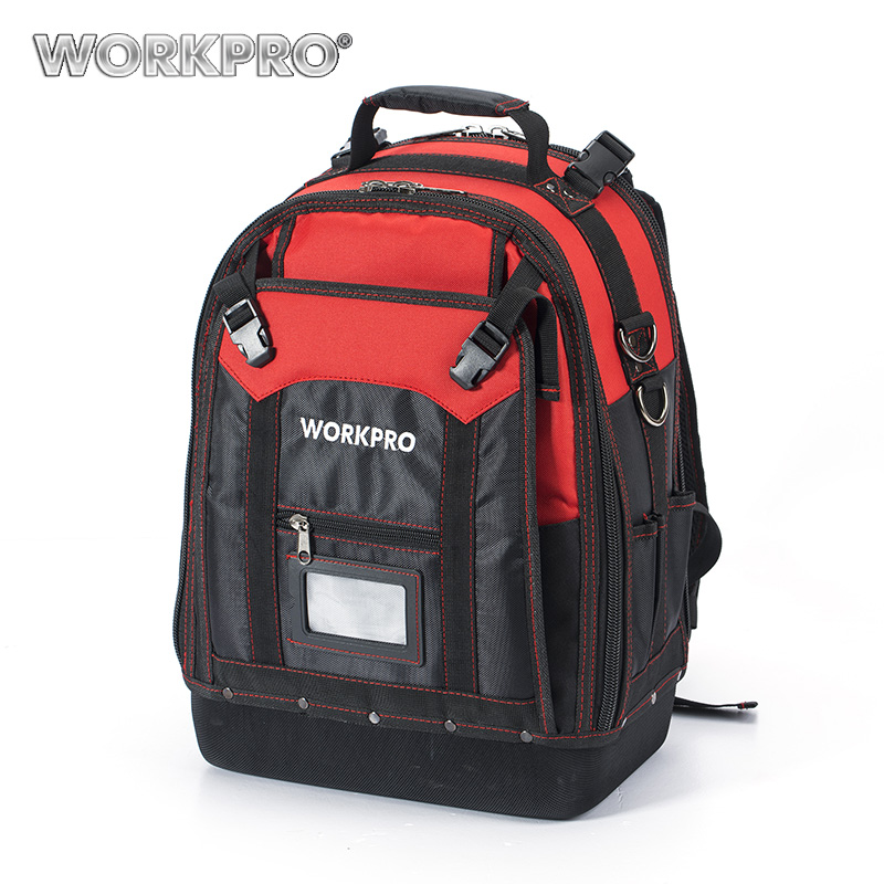 WORKPRO New Tool Backpack Tradesman Organizer Bag Waterproof Tool Bags Multifunction knapsack with 37 Pockets W081065AE lexeb business bag men brand high quality genuine leather briefcase 15 laptop men s shoulder bags handbags with multi pockets