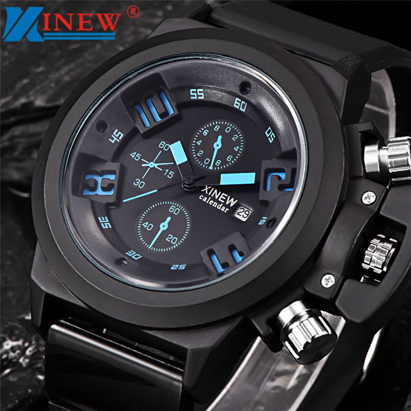 где купить  NEW Fabulous XINEWMens Fashion Silica Sport Date Chronograph Analog Quartz Wrist Watch Waterproof erkek kol saat relogioi SEP16  дешево