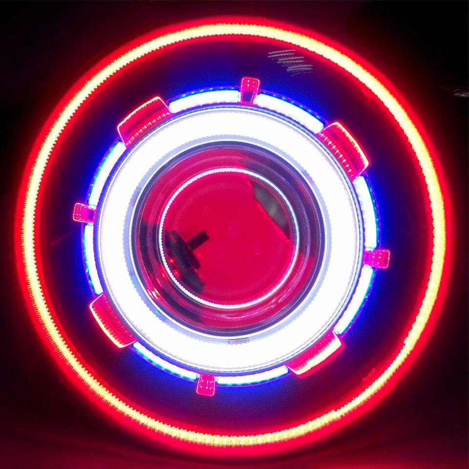 1 set 7 Inch 35W led Headlight Hi/Low Beam Headlamp with COB halo angel eye evil Eyes + Canbus Ballast for Hummer h1 h2