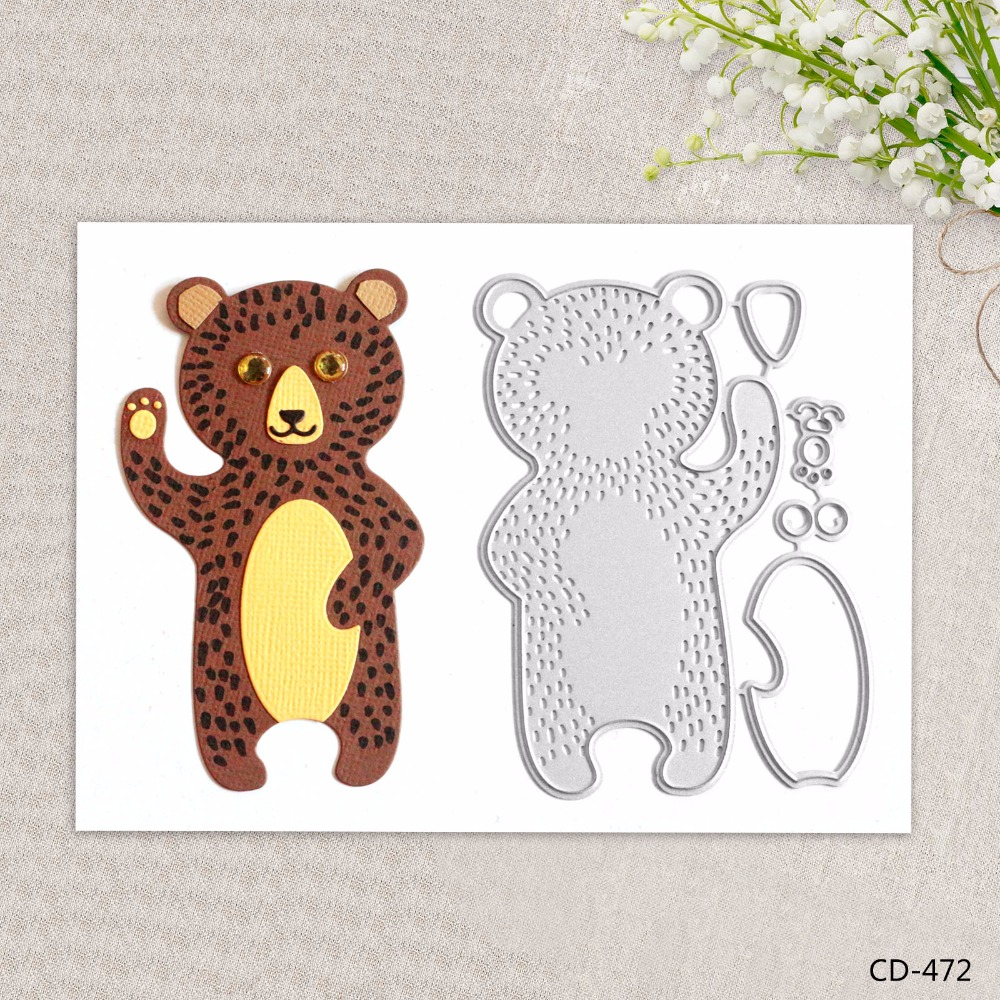 Zhuoang Metal Cutting Dies Cute Bear Seal for DIY Scrapbooking Photo Album Card Making DIY Decoration Supply zhuoang beautiful wooden rubber clear stamps and cutting dies set for scrapbooking photo album card making diy decoration supply