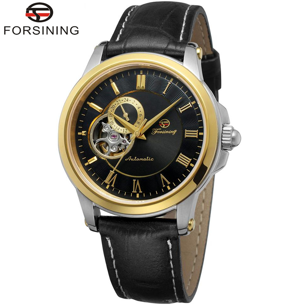 FORSINING Brand Mens Luxury Classic Genuine Leather Band Automatic Mechanical Watch Wristwatch Relogio Releges Montre Homme forsining men luxury brand moon phase genuine leather strap watch automatic mechanical wristwatch gift box relogio releges 2016