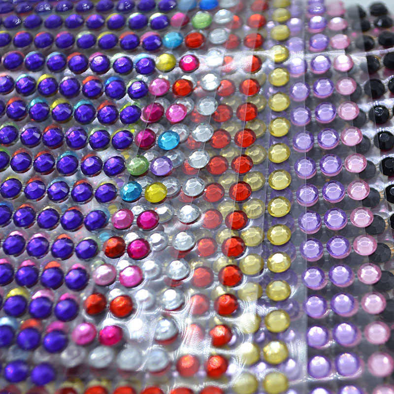 5mm 646PCS/lot Self Adhesive Rhinestones Acrylic Stickers DIY Decal Scrapbooking Stickers PC/MobileDecor Sparkle Gems Craft