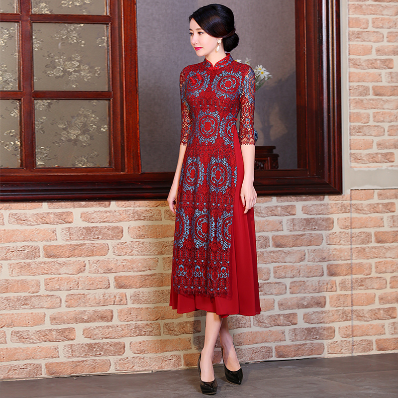 2017 winter wedding dress chinese style red embroidery for Chinese style wedding dress
