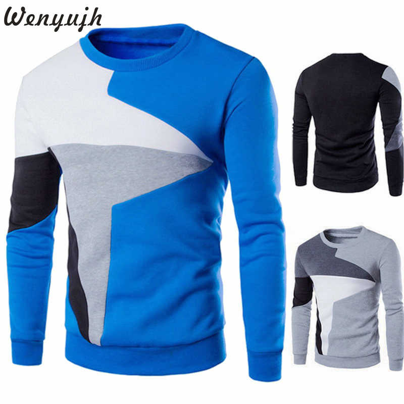 Wenyujh 2019 Fashion Pullover Men Long Sleeve Slim Fit pullover Males Fall Spring Casual Patchwork Design Round Neck Pullover