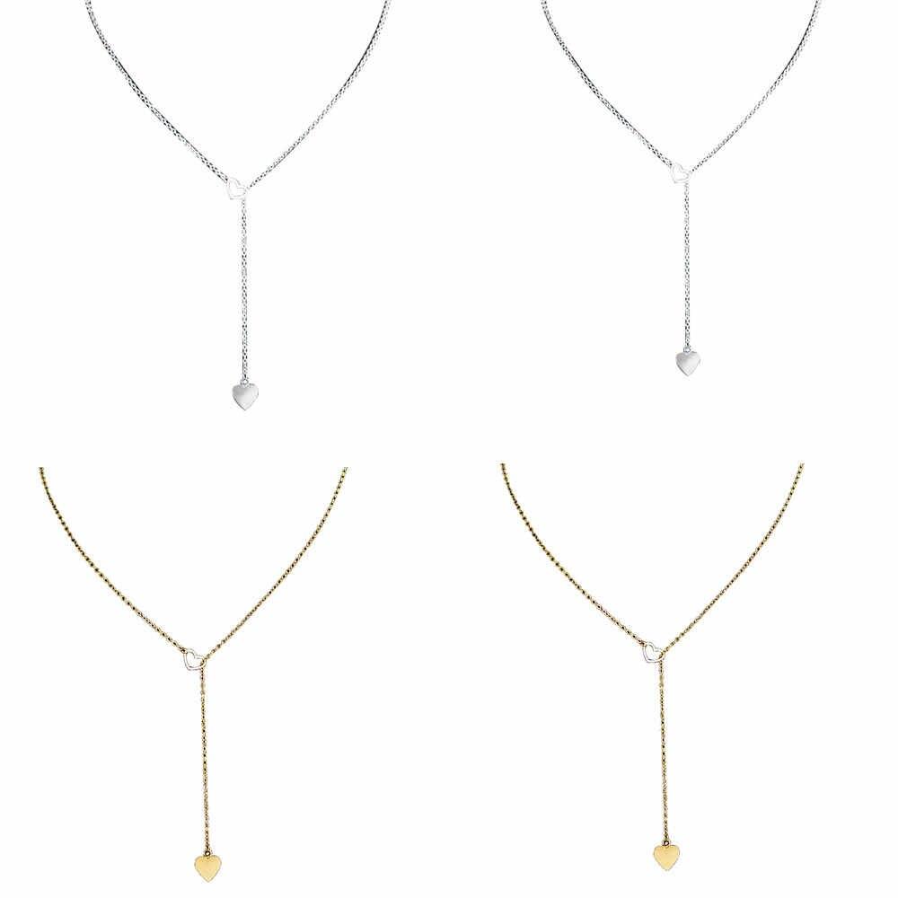 Élégant Bar chaud beauté charme femmes en acier inoxydable coeur pendentif chaîne collier dames fille Choker collier ruban or argent