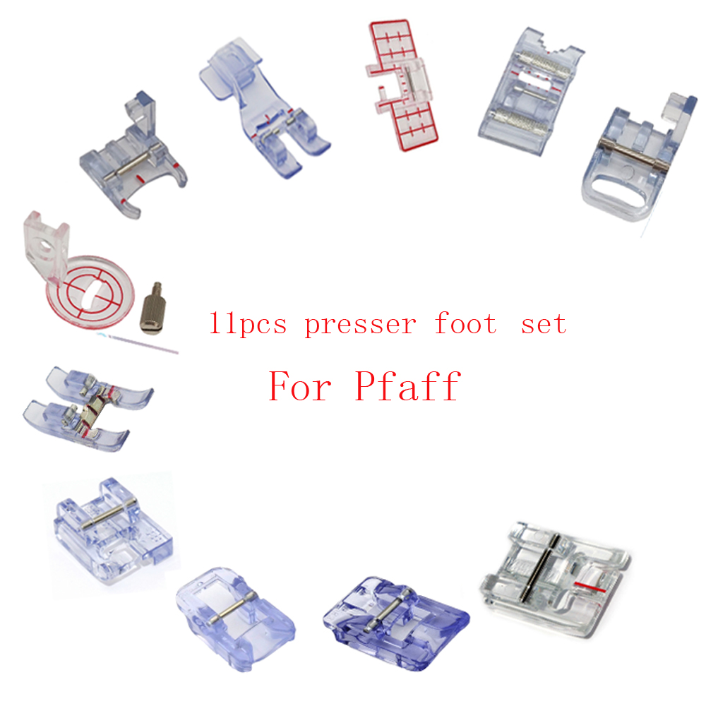11 Pcs Presser Foot Set For Pfaff Sewing Machine Join & Fold Edging Foot Roller Presser Foot PIPING FOOT Gear PFP-011