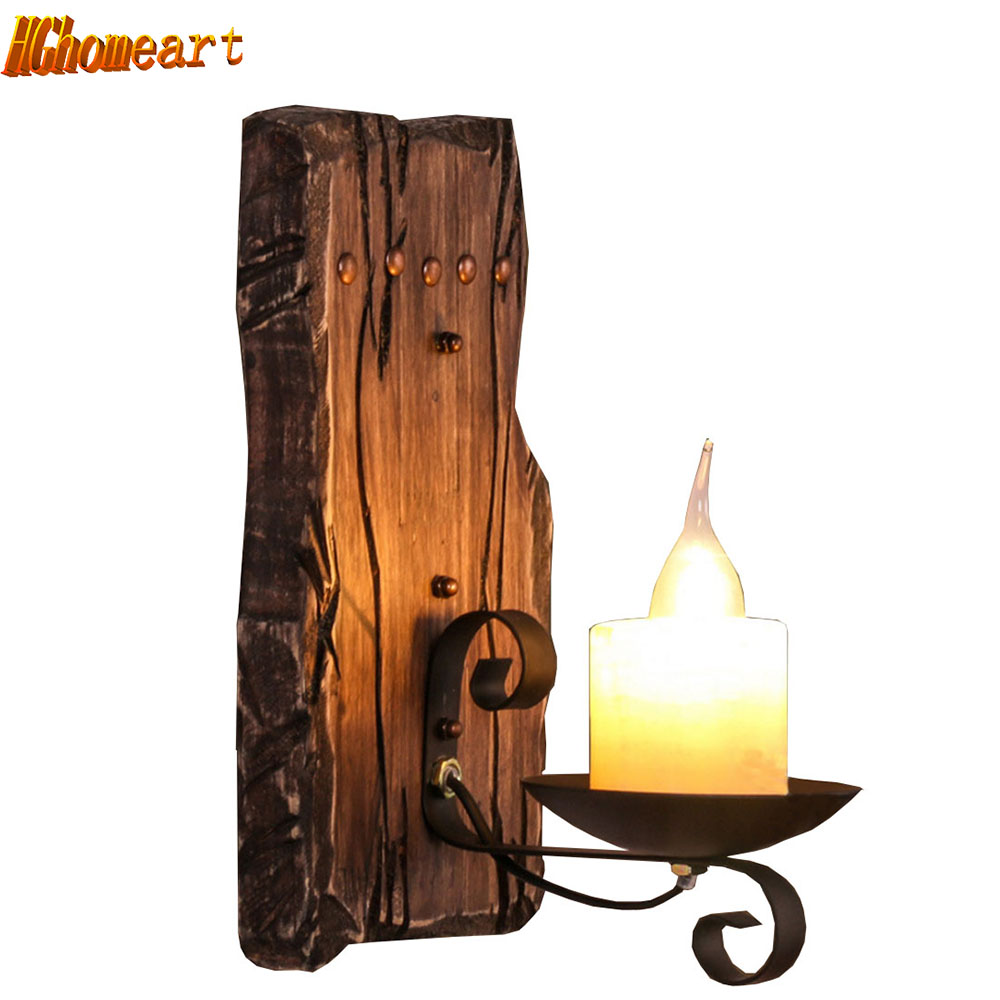 European Style Aisle American Retro Solid Wood Industrial Windmill Head Wall Lamp Imitation Candle Bedroom Single Head Light new energy saving creative small spotlight led remote control for cabinet light mirror lamp search light bed table light