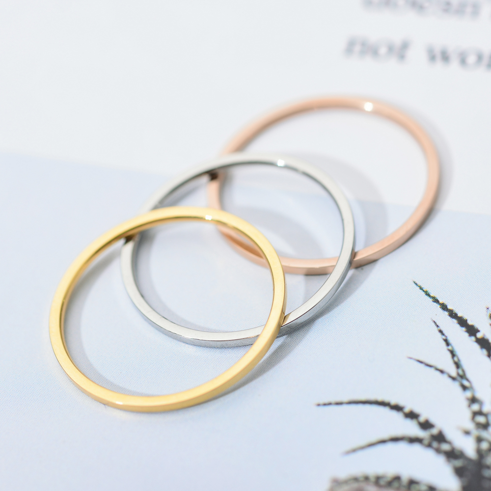ZMZY Round Rings For Women Thin Stainless Steel Wedding Ring Simplicity Fashion Jewelry Wholesale Bijoux 1mm