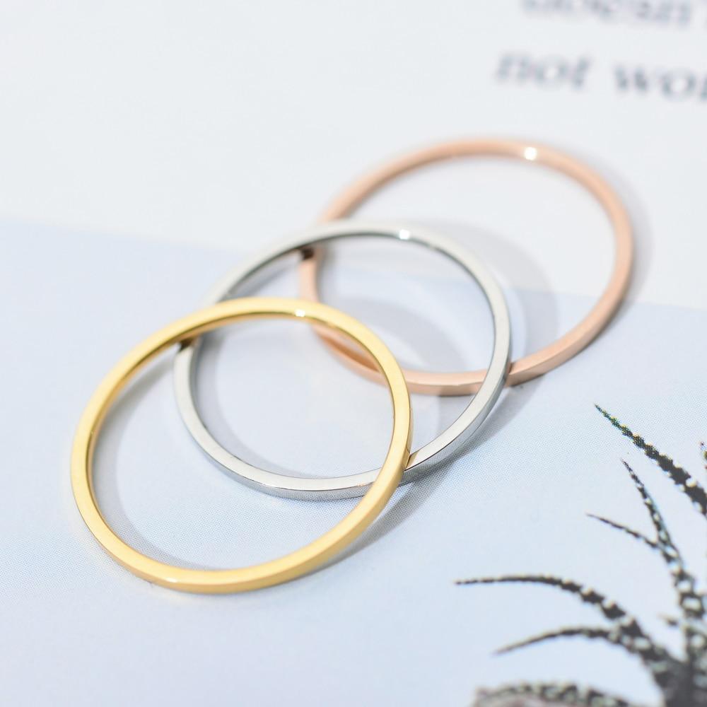 Женские круглые кольца ZMZY, тонкое обручальное кольцо из нержавеющей стали, Простые Модные ювелирные изделия, 1 мм