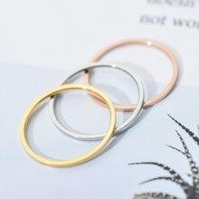 ZMZY خواتم مستديرة للنساء رقيقة خاتم الزواج من الفولاذ المقاوم للصدأ البساطة مجوهرات الأزياء بيجو بالجملة 1 مللي متر