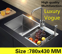 Free shipping Home luxury multifunction small kitchen manual sink double groove wash vegetables 304 stainless steel 78x43 CM