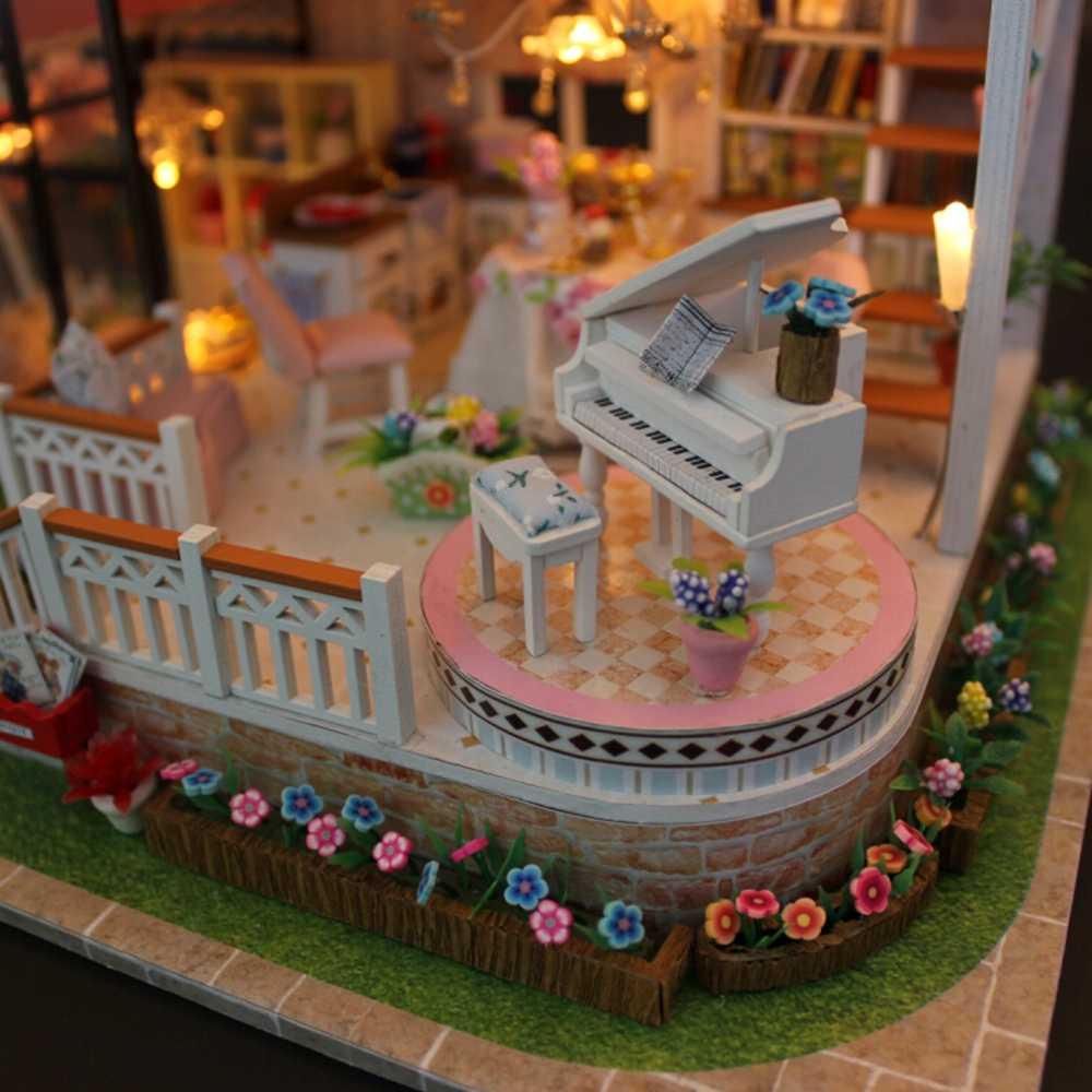 대형 인형 집 카사 드 boneca 소형 diy 퍼즐 장난감 모델 나무 가구 장난감 생일 선물 달콤한 단어 인형 집