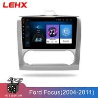 LEHX 2 DIN 9 дюймов Android 8,1 автомобильный мультимедийный плеер сенсорный экран четырехъядерный автомобильный Радио для 2004 2005 2006 2011 Ford Focus Exi AT