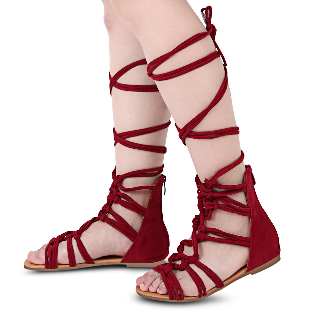 2017 New Bandage Women Sandals Boots Flat Summer Shoes Woman Large Size Knee High Gladiator Sandals Plus Size 35-41  handmade high quality 2017 summer new knee high boots gladiator women sandals boot real leather flats casual shoes black size 41