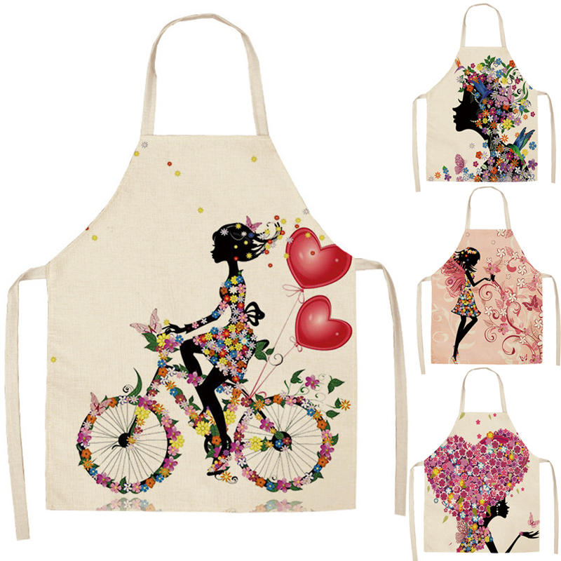 Kitchen Aprons Pinafore Waist-Bib Linen Printed Baking Girl Home-Cooking Women Cotton