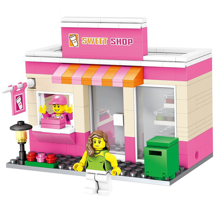 [New] City mini street view Sweet shop food Restaurant store + figures Building blocks f ...