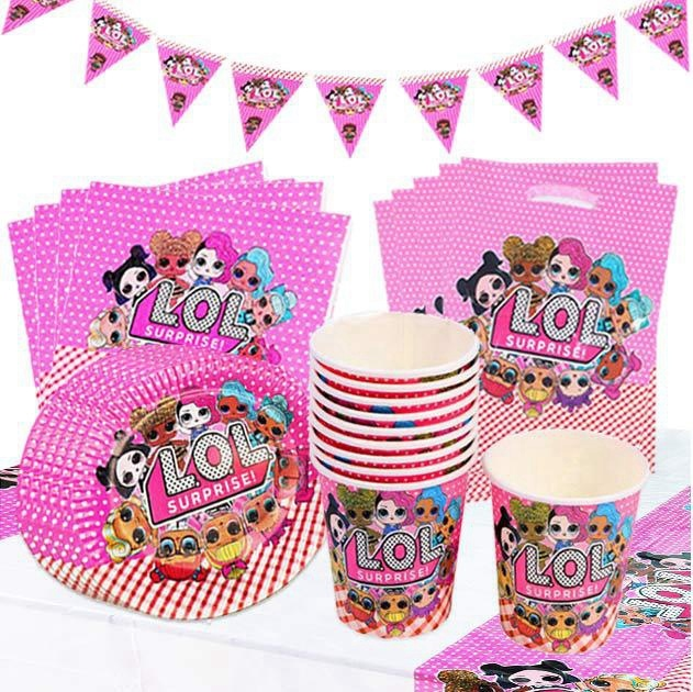LOL Surprise Theme Cartoon Party Tableware Cup Straw Plate Napkins Candy Box Banner Kids Birthday Decorations Supplies