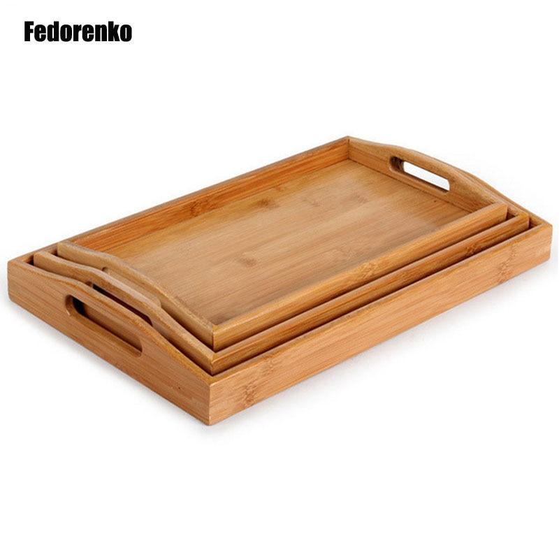 3 ks / šarže obdélníkový čaj bambusový podnos košík hotel Domů denně ovocné nádobí deska Ostatní potraviny Skladové zásobníky dienbladen hout