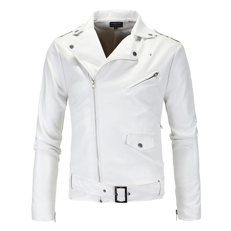 Men's Lapel Solid Color Leather Jacket, Classic Diagonal Zipper White Slim PU Leather Motorcycle Jacket S-4XL