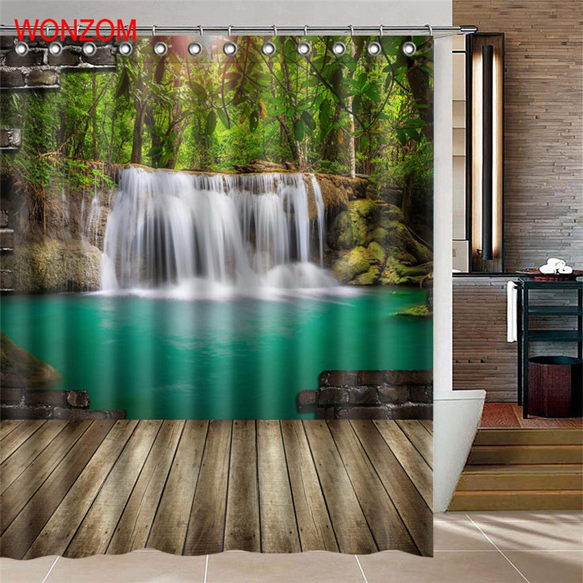 WONZOM Waterfall Shower Curtains For Bathroom Decor Modern Landscape Bath Waterproof Curtain with 12 Hooks Bathroom Accessories