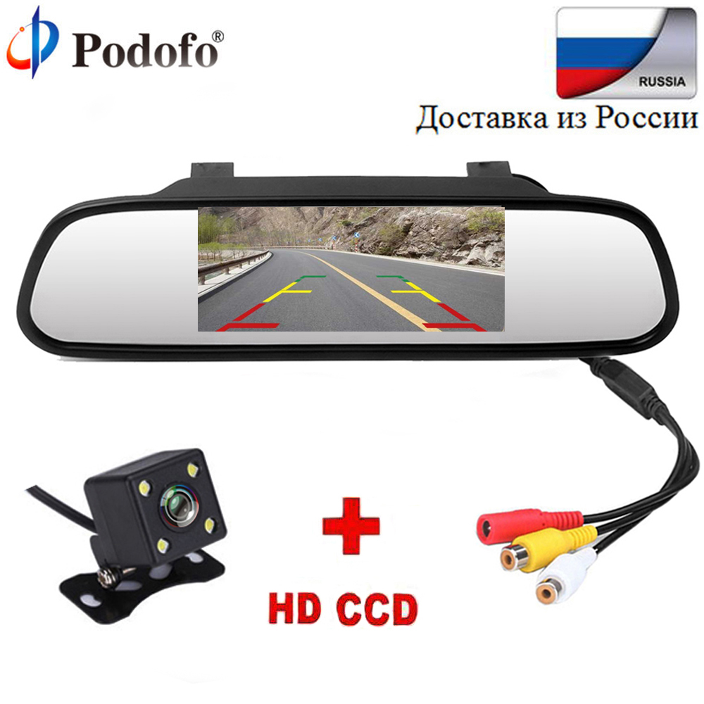 Podofo 4.3 inch Car HD Rearview Mirror Monitor CCD Video Auto Parking Assistance LED Night Vision Reversing Rear View Camera car hd video auto parking monitor led night vision reversing ccd car rear view camera with 4 3 inch car rearview mirror monitor
