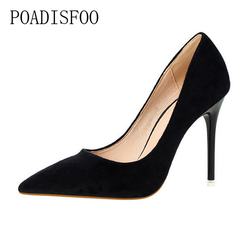 POADISFOO 2018 women pumps Fashion Simple Thin With High Heel Shallow Mouth Pointed Suede Sexy Wedding Shoes black .PSDS-2617-5 burgundy gray saphire blue pink women dress party career work shoes flock shallow mouth stiletto thin high heel pumps
