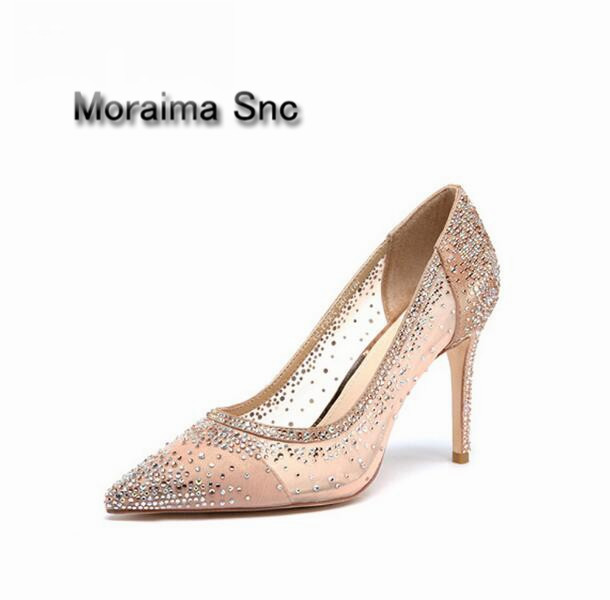 Moraima Snc brand beige bling design women's high heel pumps sexy pointed toe Party Wedding stiletto shoes 12cm thin heels shoes doratasia denim eourpean style big size 33 43 pointed toe women shoes sexy thin high heel brand design lady pumps party wedding