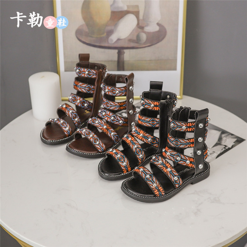 Children Shoes Sandals Hollow-Out-Shoes Girls New-Fashion High-Top Rivet Retro