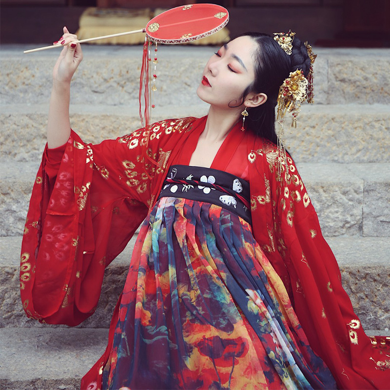 Printing Dance Costume Women Hanfu Traditional Wear For Singers Folk Festival Rave Outfit Oriental Performance Clothing DC2351