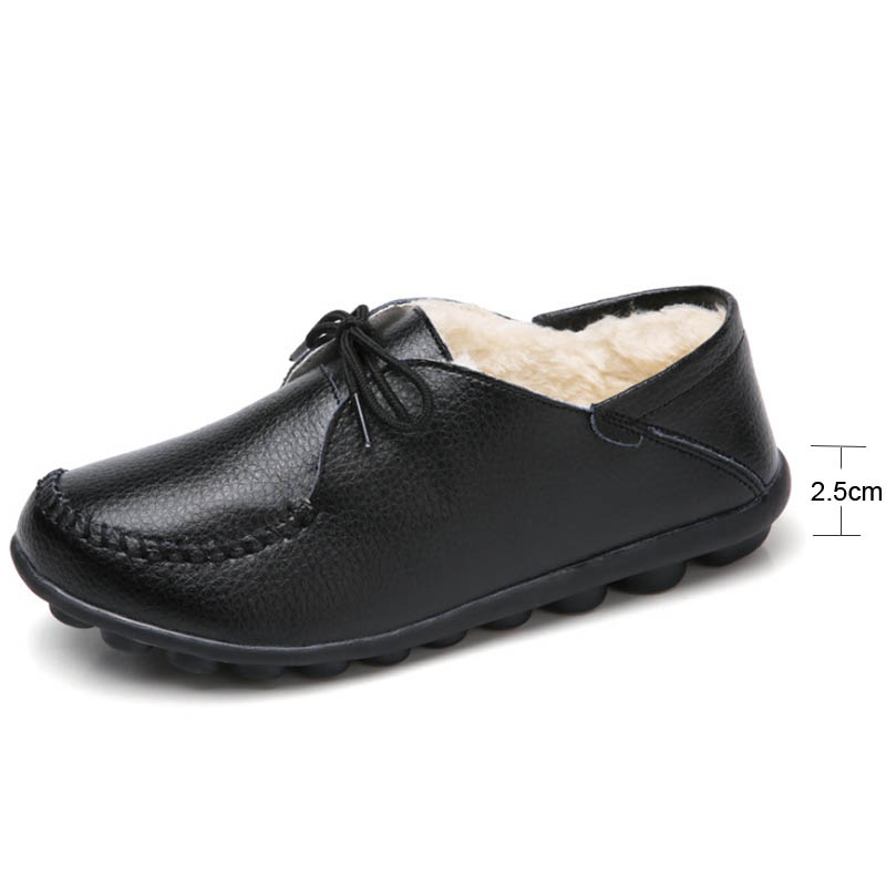 Vtota Zapatos Mujer Noir Chaussures H 2018 vin Grand Plat En Casual Chaud Pour Cuir shenlanse Dentelle mère D'hiver Véritable Femmes up Rouge Appartements Fc1lTKJ3
