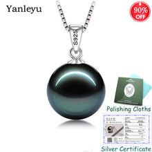 Sent Silver Certificate ! Yanleyu 100% 925 Sterling Silver Jewelry Black Pearl Pendant Necklace for Women Birthday Gift PN041(China)