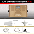 NEW Generation Smart 2G 3G Signal Repeater, dual band 1900MHz + 850Mhz gsm 2g 3g Mobile Phone Signal Booster amplifier with LCD