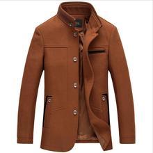 Новый шерстяные пальто мода Зима peacoat мужская однобортный шерстяное пальто теплая одежда M-3XL плюс размер w1720