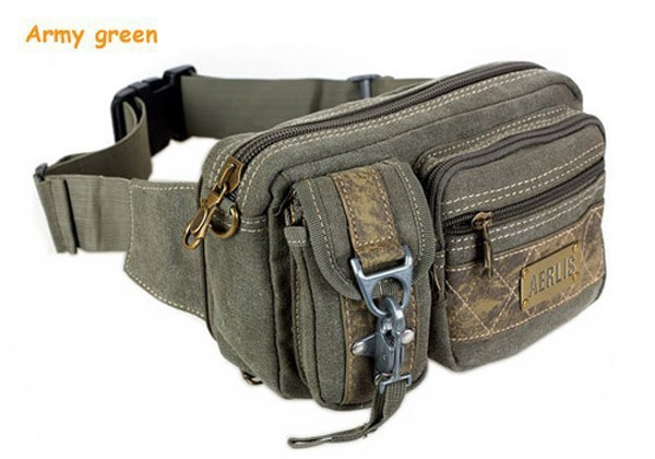 Small Belt Bag Men Vintage Travel  Male Waist Packs Belt Canvas Mens Chest Retro Military Shoulder Bag