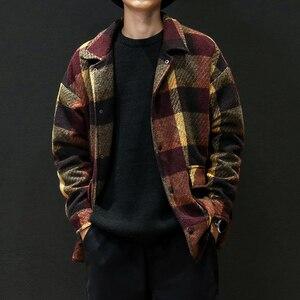 Image 4 - Mens Trench Khaki 2019 Winter Plaid Design Woolen Coat Men Fashion Single Breasted Pea Jacket Big Size 5XL Red Overcoats #3093
