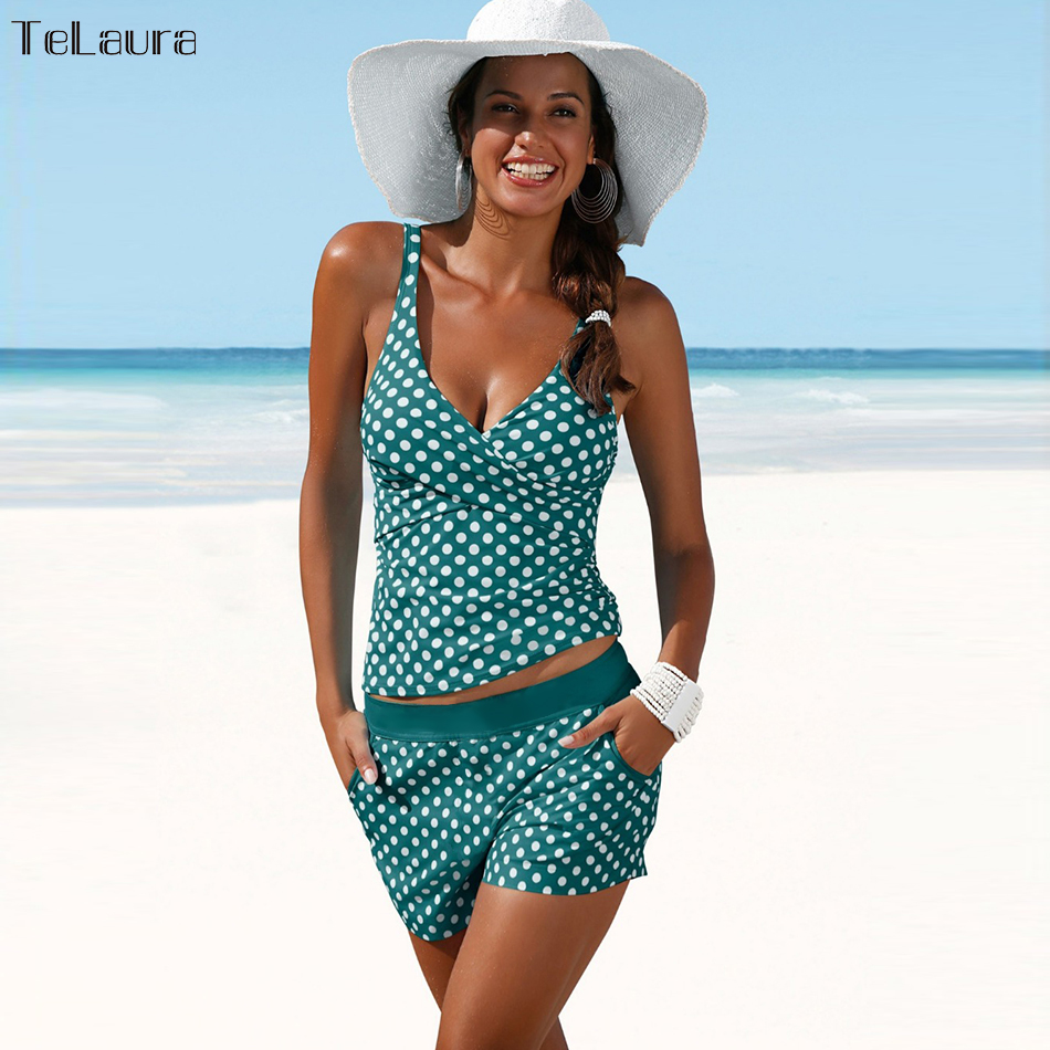 2018 New Plus Size Swimwear Women Swimsuit Two Pieces Tankini Padded Bathing Suit Polka Dot High Waist Bikini Set Beachwear plus size polka dot cold shoulder top