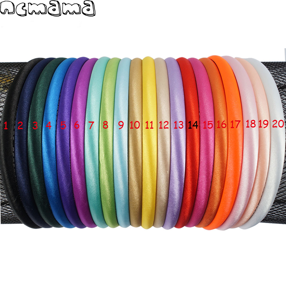 20 Pcs/Pack Solid Satin Covered Hairbands For Women Girls Plastic Headbands Handmade Kids Candy Color Hair Accessories
