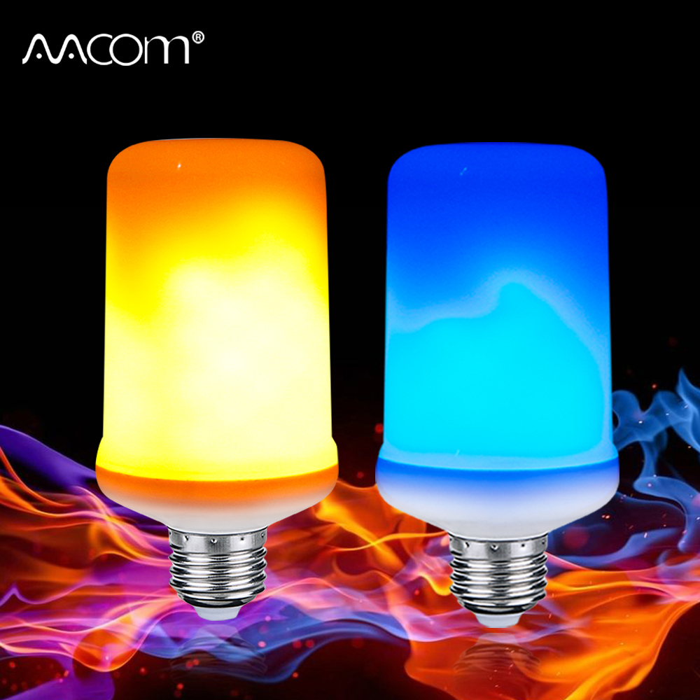 99 LEDs E27 Flame Lamps 9W 85-265V 4 Modes Ampoule LED Flame Effect Light Bulb Flickering Emulation Fire Light Yellow/Blue Flame