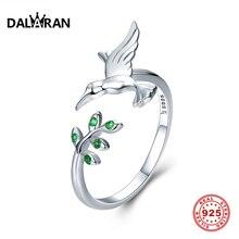 DALARAN Silver Ring Genuine 925 Sterling Sparkling Bird Spring Tree Leaves Open Size Finger Rings For Women Fine Jewelry